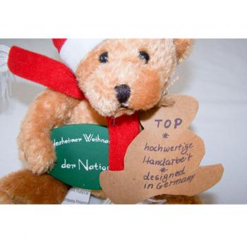 Haushalt - Dekoration - Bär mit Nikolausmütze vom Rüdesheimer Weihnachtsmarkt der Nationen - Papieranhänger