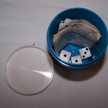 Spiel - Würfelbecher für die Reise - Kunststoffbecher mit drei Würfeln und Spieleanleitung