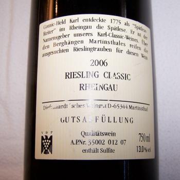 Rheingau-Riesling Classic 2006 aus KARL-Sonderedition - Rückseite