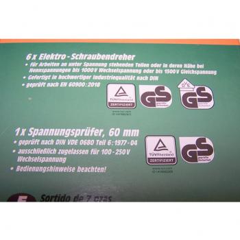 Heimwerker - 7-teiliges Sortiment Elektro-Schraubendreher - Beschreibung Rückseite